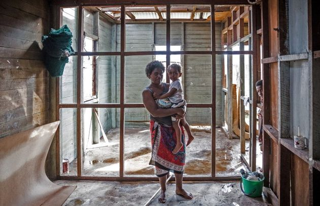 What is left of her home in the aftermath of Tropical Cyclone Winston in Rakiraki district where Ausmat