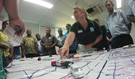 A crude map of Suva is laid out and a disaster unfolds as part of the MIMMS course. Picture: Cayla Dengate