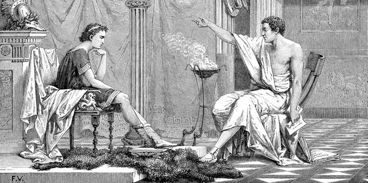 A young Alexander the Great with Aristotle. Alex was probably sick of listening to him bang on about having boys.