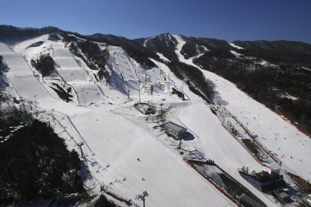 This picture taken on February 18, 2017 shows a general view of Bokwang Phoenix Snow Park, the venue...