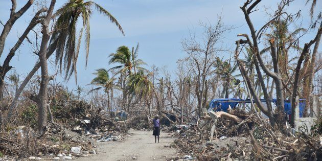 A woman in Les Cayes, Haiti, following the passage of Hurricane