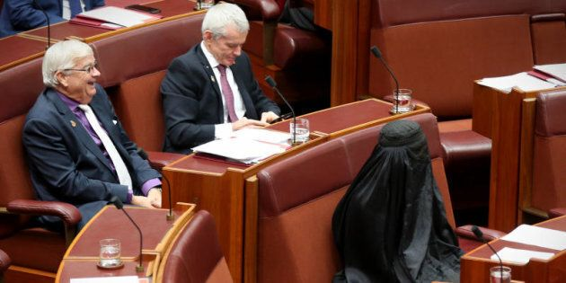 Pauline Hanson wears a burqa during question time at Parliament House in Canberra on Thursday 17