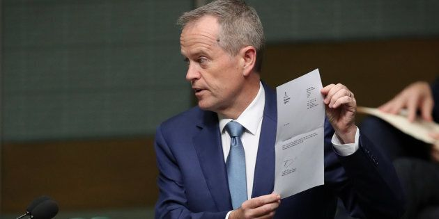 Leader of the Opposition Bill Shorten tables the renunciation of his British citizenship at Parliament...