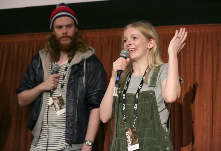 Gregory Erdstein and Alice Foulcher speaking at a Q&A screening of 'That's Not Me' at the 32nd Santa Barbara International Film Festival in February.