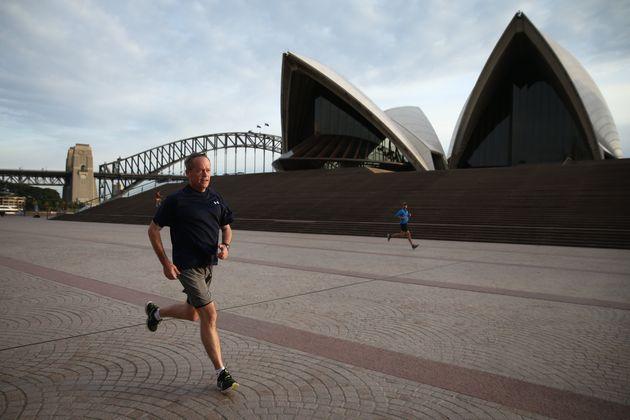 Opposition Leader Bill Shorten enjoying a 9.2km morning run in Sydney during the election