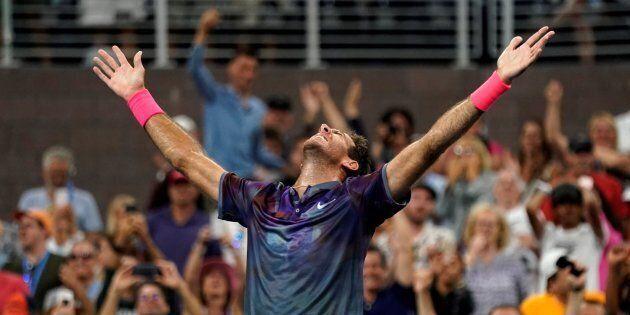 Argentina's Juan Martin del Potro celebrates after defeating Austria's Dominic Thiem.