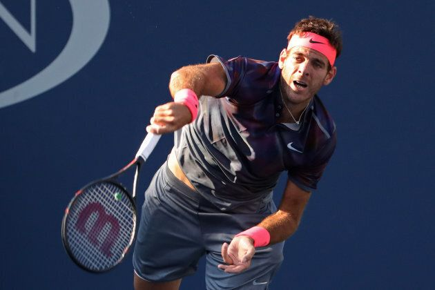 Del Potro served consecutive aces to save two match points in the fourth set.