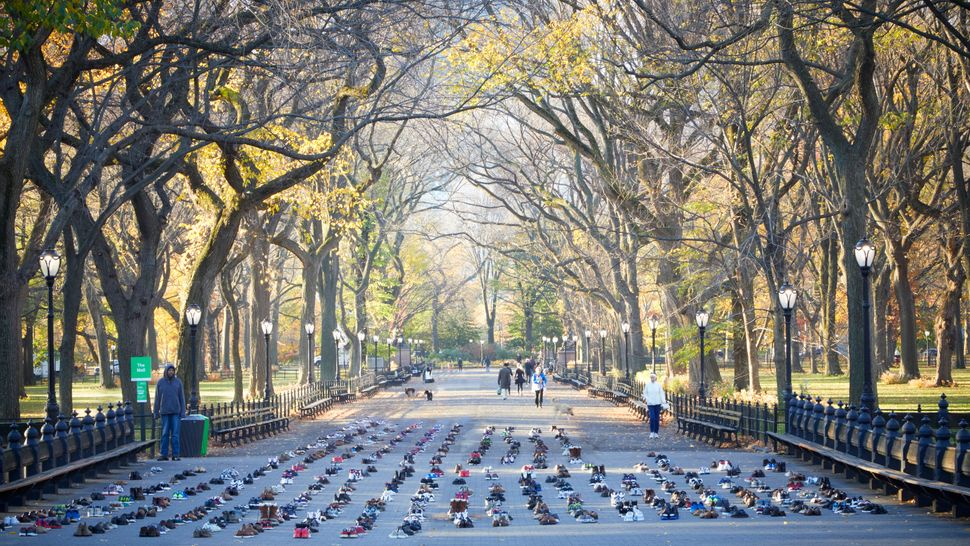 Shoes were also set up in New York's Central Park, as well as 91 pairs in Stockholm, Sweden, 375 in Dublin, Ireland and 136 across Canada.