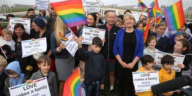 the Rainbow Families group at Parliament House in September, with Opposition Leader Bill Shorten and...