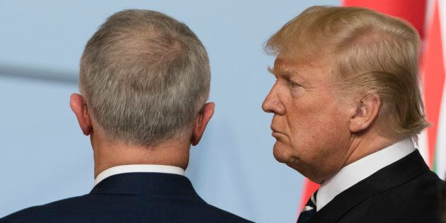Prime Minister Malcolm Turnbull chats with U.S. President Donald Trump.