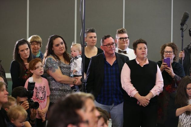 Rainbow families at Shorten's press conference on Tuesday, where he announced Labor would oppose the
