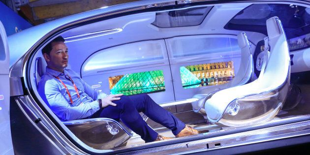 February 24, 2016: Inside the Mercedes-Benz AG F 015 concept car at the Mobile World Congress in Barcelona,