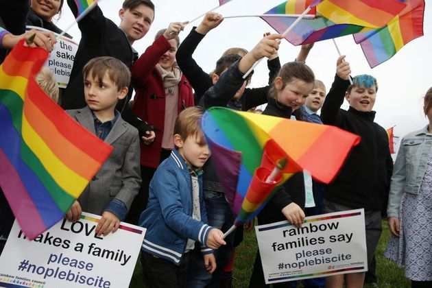 Rainbow Families outside Parliament House in