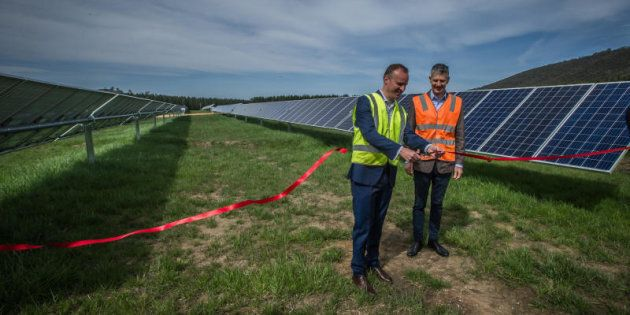 Chief Minister Andrew Barr at the opening of the Mount Majura Solar