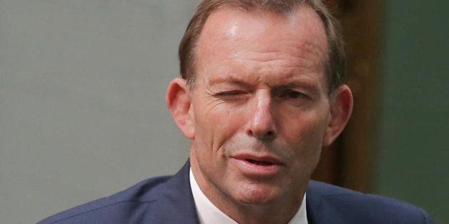 Tony Abbott winks as he departs Question
