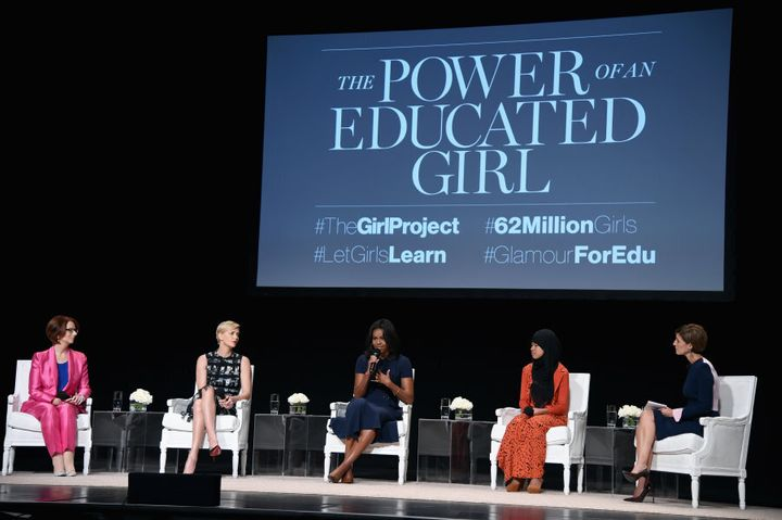 Gillard with Charlize Theron, First Lady of the United States Michelle Obama and Girl ambassador from Plan International Nurfahada during 'The Power Of An Educated Girl' event