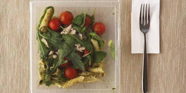 A pre-packaged, microwaveable, ready meal.