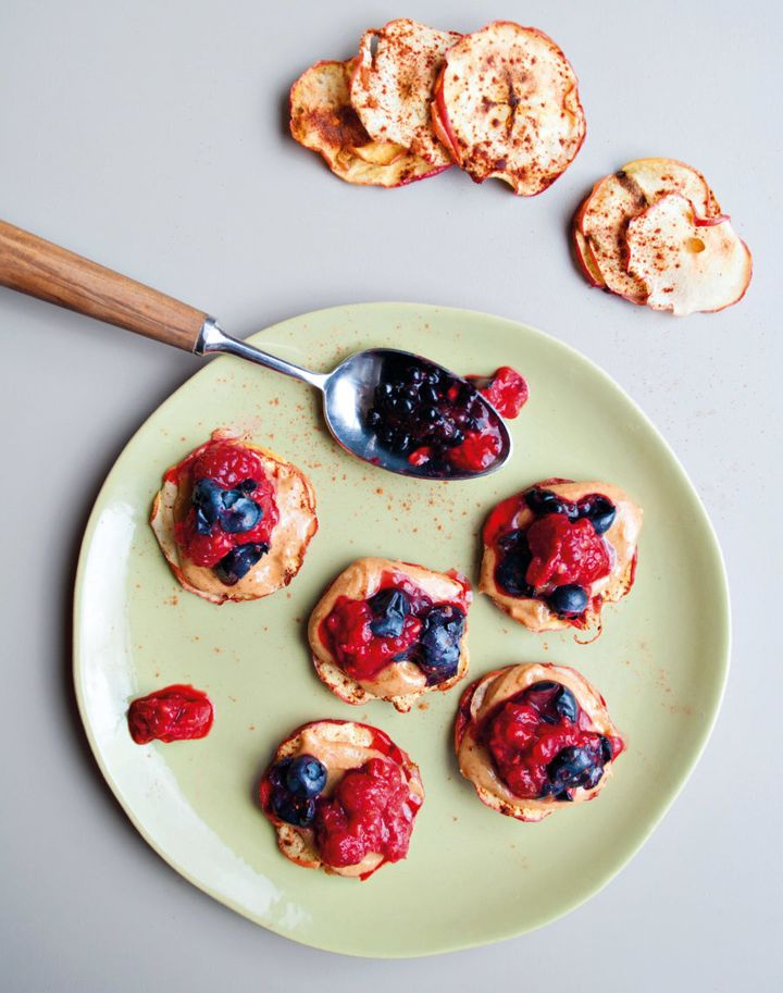 Don't have almond butter and berries? Try using peanut butter and banana.