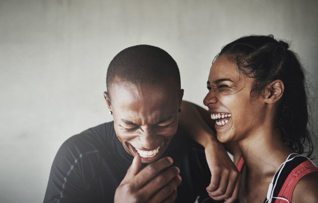 Couples who laugh hysterically after they work out together, stay