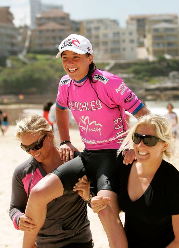 And to celebrate, she got carried off the beach by Stephanie Gilmore and Jessi Mylie-Dyer. Then probably...