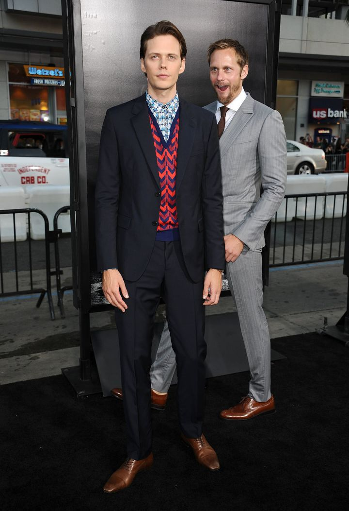 Alexander Skarsgard star-struck by... his own brother on the red carpet for the premiere of 'It'.