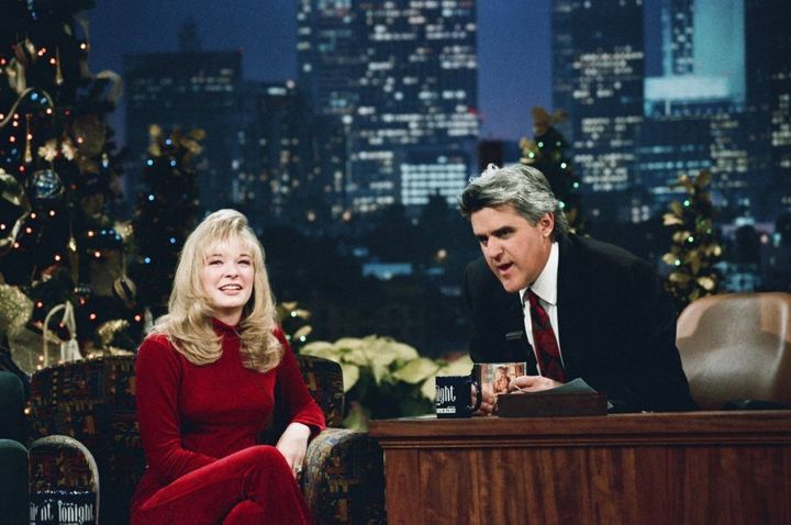 LeAnn Rimes with Tonight Show host Jay Leno in 1996.