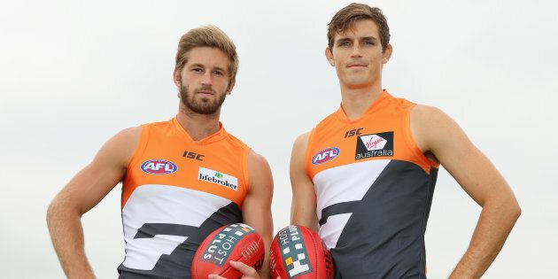 Callan Ward (left) and Phil Davis after being named co-captains in