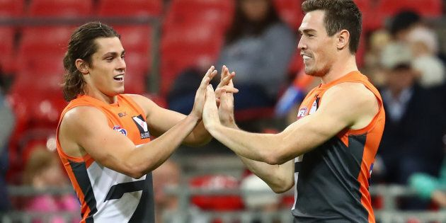 It's high fives all-round at the Giants these days. Very high if you're Jeremy Cameron