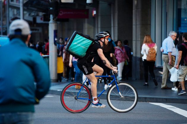 Deliveroo uses cyclists for its on-demand food deliveries.