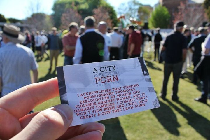 A card handed out at the rally, with the anti-porn pledge