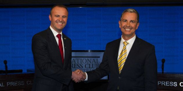 ACT Chief Minister Andrew Barr and Opposition Leader Jeremy Hanson at the ACT leadership debate