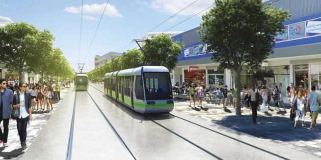 An artistic rendering of who the light rail is expected to look in Canberra