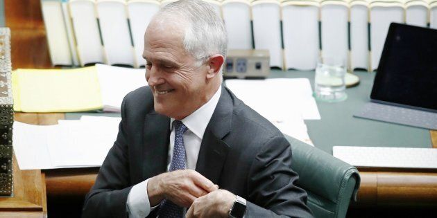 Prime Minister Malcolm Turnbull stands to answer a question from Opposition Leader Bill Shorten after...