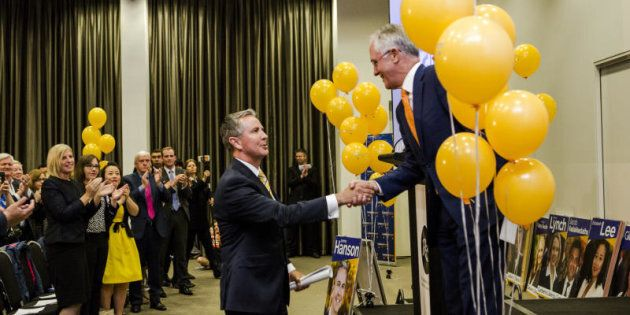 Canberra Liberals Jeremy Hanson and The Prime Minister Malcolm Turnbull at the Canberra Liberal Campaign Launch