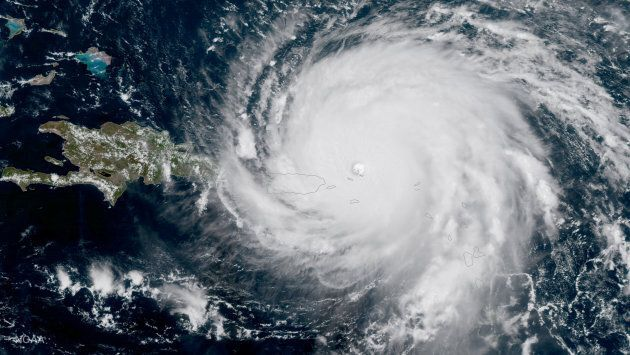 Hurricane Irma, a record Category 5 storm, is seen approaching Puerto Rico in this NASA's GOES-16 satellite...