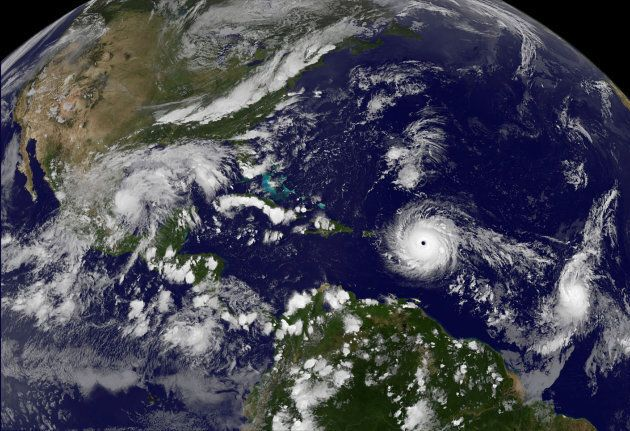 Hurricane Irma, a record Category 5 storm, churns across the Atlantic Ocean on a collision course with...