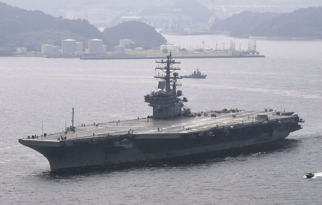 The USS Ronald Reagan leaves from its home port to be deployed for a routine autumn patrol of the Western
