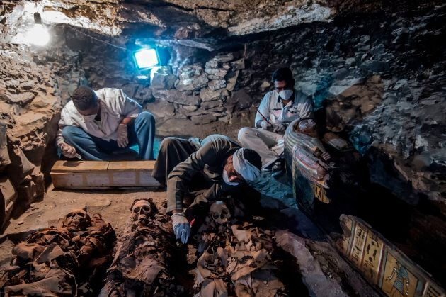 Egyptian labourers and archaeologists have unearthed a number of mummies at the newly-uncovered ancient...