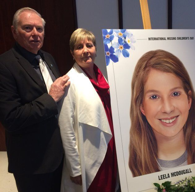 Jim and Cath McDougall with an age-progressed photo of their granddaughter Leela, who would be 16 years...