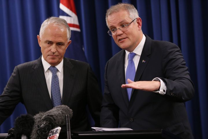 Prime Minister Malcolm Turnbull and Treasurer Scott Morrison during a press conference in Brisbane on Wednesday 1 June 2016. Election2016 Photo: Andrew Meares