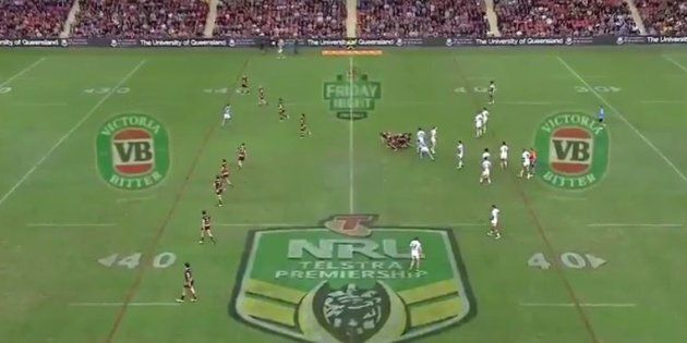 VB logos displayed on the ground of an NRL match last week