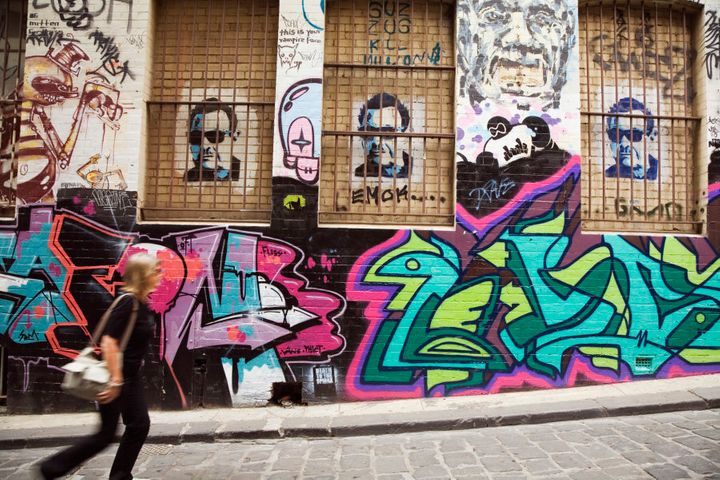 Melbourne is rich with colourful street art and graffiti.
