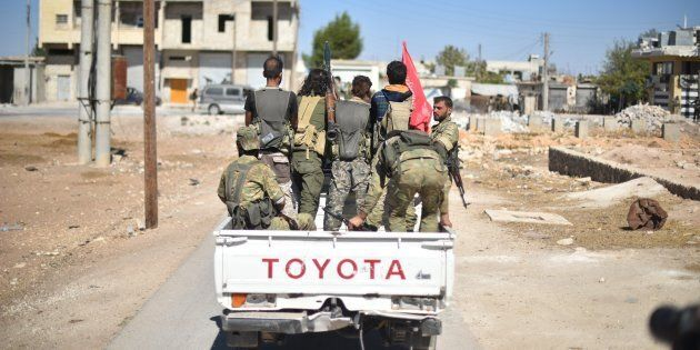 A convoy belonging to the Members of Free Syrian Army (FSA), enters Dabiq village of Aleppo after drove Deash terrorists from the village in Aleppo, Syria on October 16, 2016