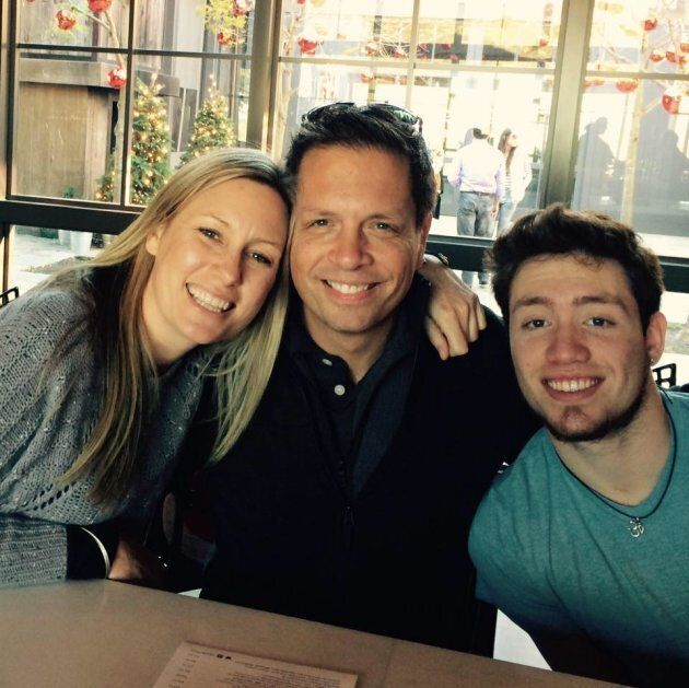 Justine Damond, 40, with fiance Don and his son, Zach. Justine was shot dead just a month before she...