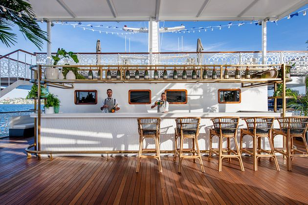 Zabotto-Bentley did the interior design for Seadeck, Sydney Harbour's new permanent floating