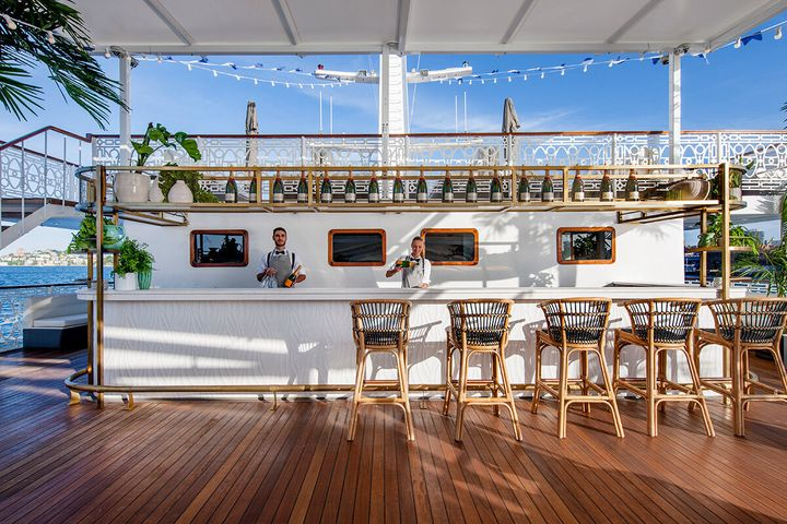 Zabotto-Bentley did the interior design for Seadeck, Sydney Harbour's new permanent floating venue.