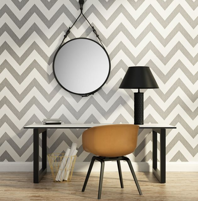 Chevron has been used everywhere and anywhere in interiors lately (as has round