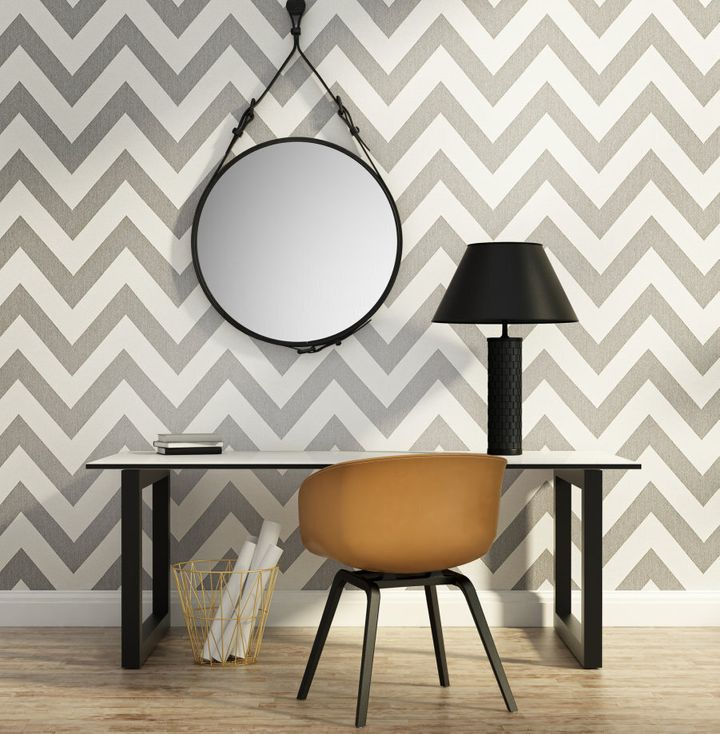 Chevron has been used everywhere and anywhere in interiors lately (as has round mirrors).