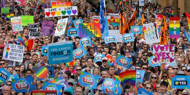 Thousands gather at a rally for marriage equality of same-sex couples in Sydney, Australia, September...
