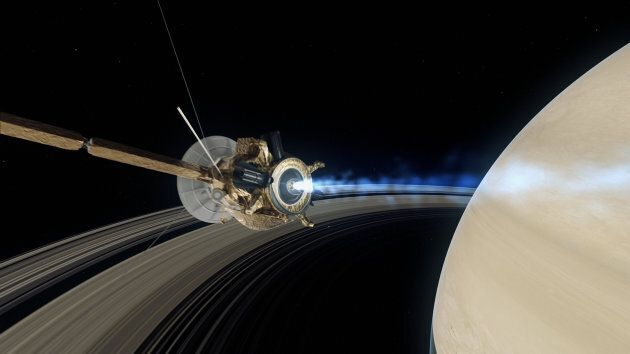 CGI perception of Cassini going inside Saturn as its mission comes to an
